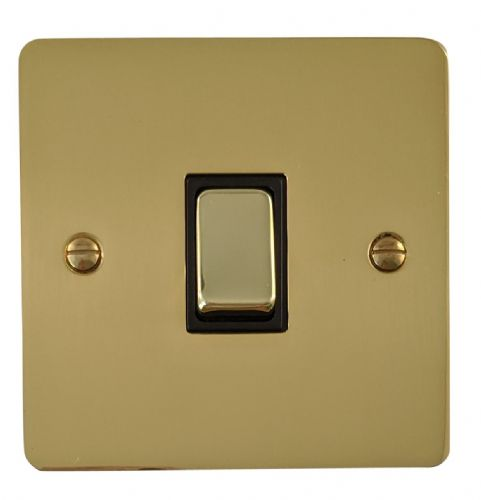 G&H FB305 Flat Plate Polished Brass 1 Gang Intermediate Rocker Light Switch